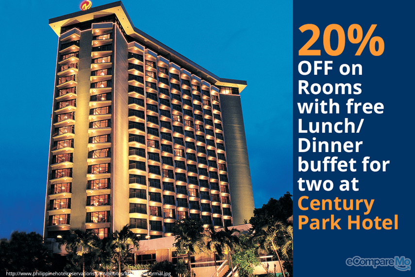 Century Park Hotel 20% OFF on Rooms with Free Lunch/Dinner Buffet for 2.