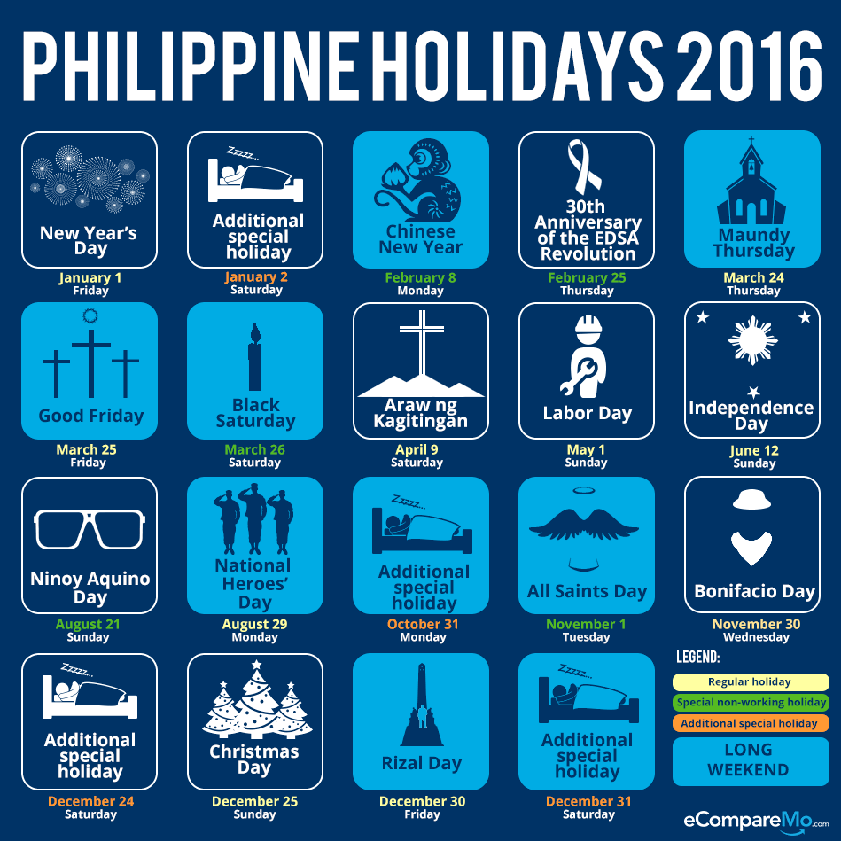 INFOGRAPHIC: Your Guide To Philippine Holidays And Long Weekends In 2016