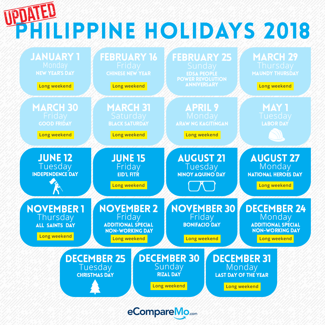 List Of Philippine Holidays In 2018 And What They Mean For Your Payslip