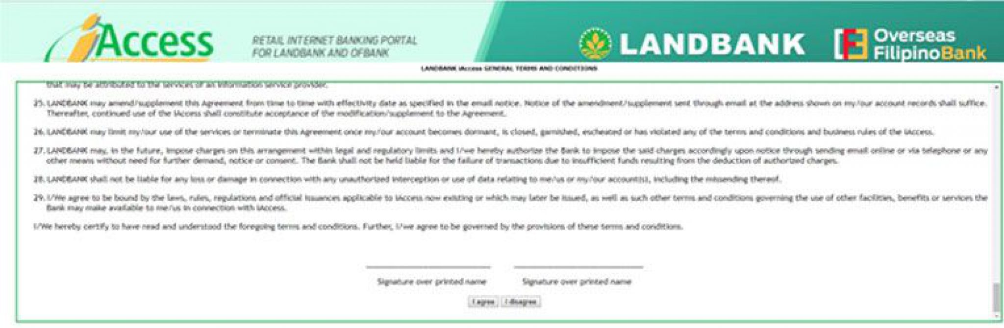 Landbank iAccess Terms and Conditions
