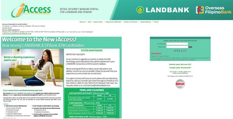 Landbank iAccess Homepage