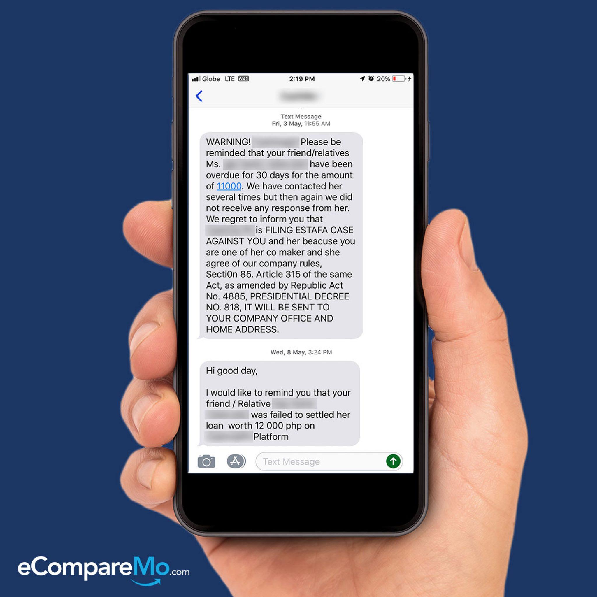 loan shark text message screenshot 1